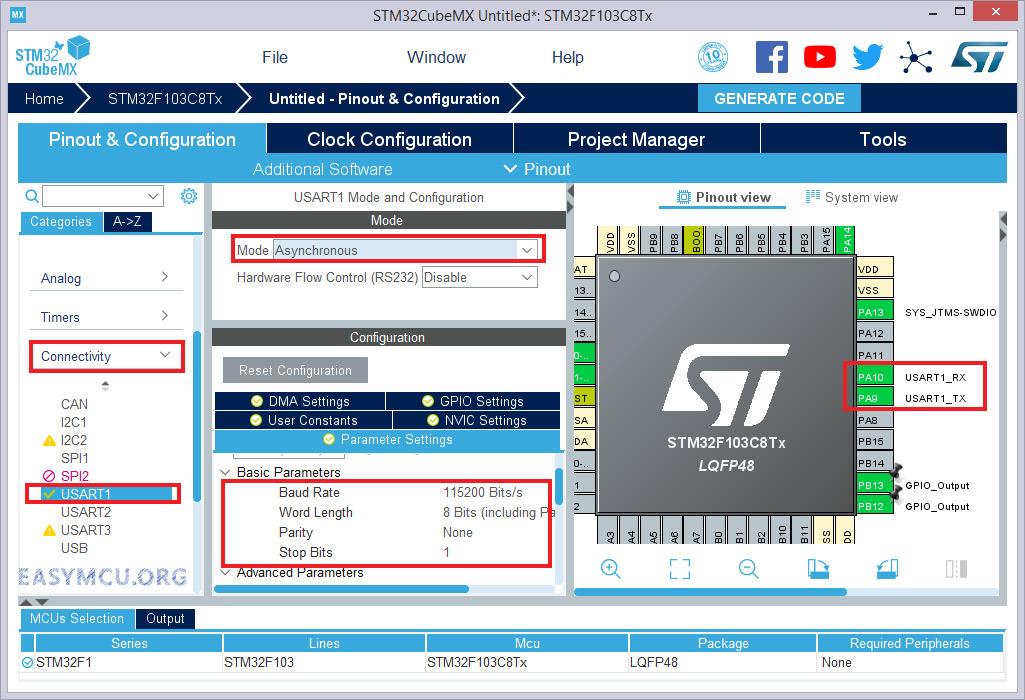 راه اندازی واحد سریال UART در STM32