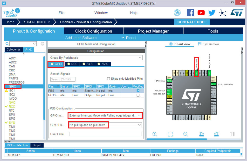 آموزش STM32 راه اندازی وقفه خارجی EXTI